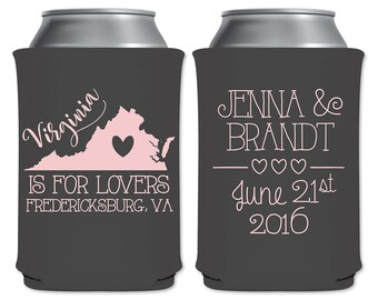 Neoprene Collapsible Custom Can Cooler Beverage Insulator Personalized Wedding Favors | Just For Lovers| Custom State Map | READ DESCRIPTION