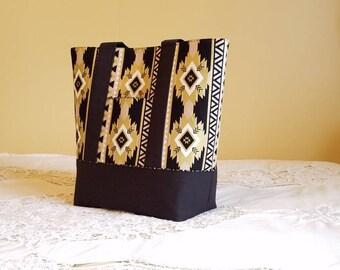 LARGE TOTE, BibleTote, Book Tote, Carry all, Work Laptop Tote, Weekender, Teacher, Diaper Bag. Metallic gold & Black Aztec print.