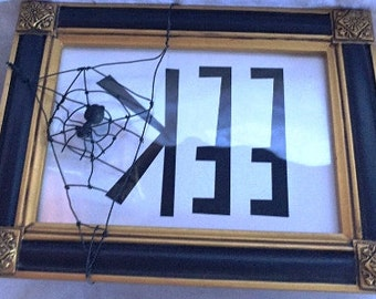 Handmade Halloween Framed Art EEK With Spider Art
