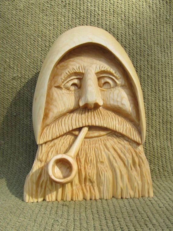 Nautical Carving Sea Captain Old Man of the Sea Hand Carved