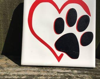 Animal lovers tile coaster, animal tile coaster, animal lovers coaster