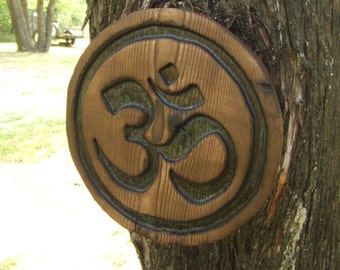 "Custom Carved OM sign - yoga meditation - 11"" reclaimed wood - western cedar"
