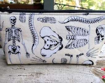 Skeleton Fabric Pencil Pouch | Cute Skeleton Fabric | Lined Zipper Makeup Bag | Cute Pencil Holder | Small Gift Under 15 | Art Pencil Bag