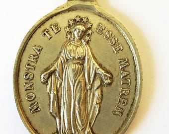 French Antique Children of Marie Religious Medal Large Silver