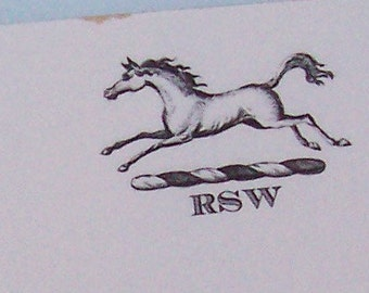 Personalized Notepad Horse Equestrian 3 Initials Monogrammed Stationery Vintage Inspired Pony Stallion 75 Sheet Note Pad
