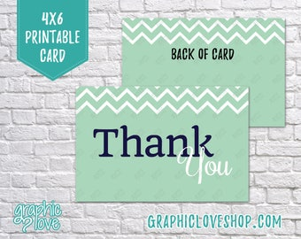 Digital 4x6 Navy, Mint Chevron Thank You Card - Folded or Postcard | High Resolution 300dpi JPG Files, Instant Download, Ready to Print