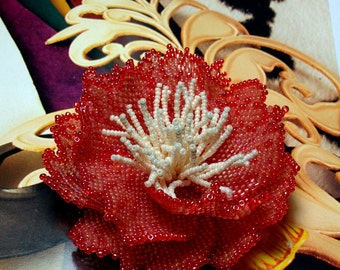 Pattern / tutorial for beaded peyote peony - how to bead a peony - artisan peony photo tutorial / instructions