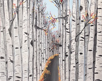 """ASPEN trees Original hand painted Acrylic art. """"Road to your Future"""" 16x20"""