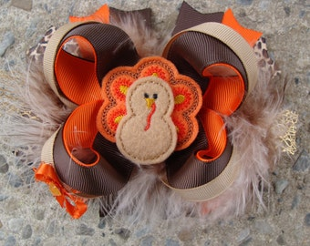 Turkey Hair Bow Thanksgiving Hair Bow Hair Clip Felt Turkey holiday hair bow Feather hair bow