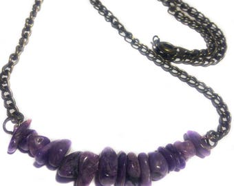 Purple Charoite gemstone necklace, helps in managing bipolar disorder,  Russian Charoite necklace, rare gemstone