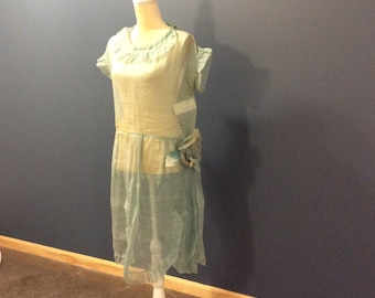 1920's Flapper Blue Organza Sheer Dress