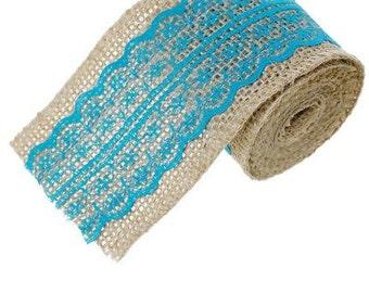 """Natural Jute Burlap Ribbon Lace Trim Lake Blue - 2 3/8"""" - 1 Roll"""