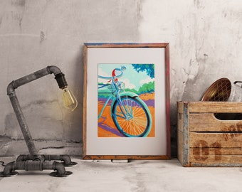 Beautiful Day for a Bike Ride ~ Watercolor print