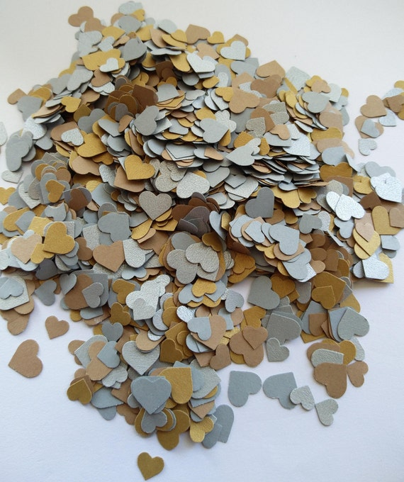 2000+ Mini Confetti Hearts. Gold & Silver. Weddings, Showers, Decorations. ANY COLOR Available.