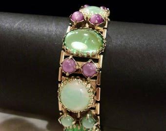 Vintage Peridot Green Glass Cabochon & Purple Bead Estate Gold Plate Geometric Wide Cuff Bracelet