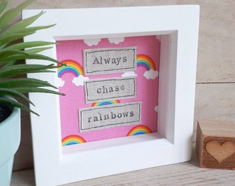 Always chase rainbows picture, rainbow frame, rainbow art, rainbow picture, rainbow nursery decor