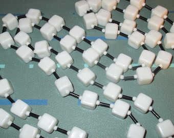Vintage MOD White Plastic Square Bead Long Necklace