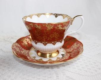 Royal Albert Bone China Tea Cup and Saucer, Consort Series, Orange with Gold Gilding and Trim