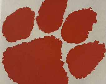 Clemson decal, tiger paw decal, yeti decal, tumbler decal, cell phone decal, laptop decal, clipboard decal, car decal
