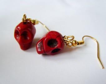 Earrings - skulls - red Mexican