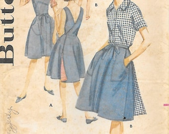 Misses 16-Butterick 2745 Uncut 1960s Wrap Skirt Dress Blouse and Shorts Vintage Sewing Pattern Bust 36