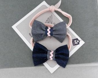 Denim Bow Set, navy headband, baby blue headband, newborn tieback headband, girls headbands, denim bows set, photography props, baby bows.
