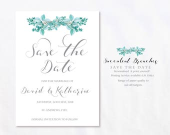 Succulent Branches Green Wedding Save The Date Printable.