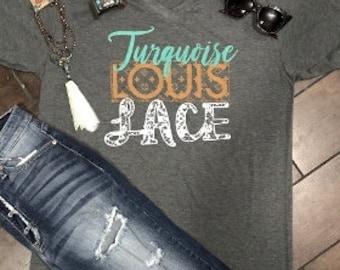 Turquoise Louis Lace T'Shirt