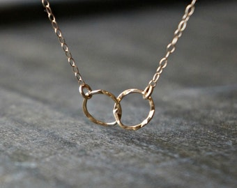 Entwined Circle Necklace / Tiny Gold Linked Hammered Infinity Rings on a Gold Filled Chain ... tiny interlocking eternity circles