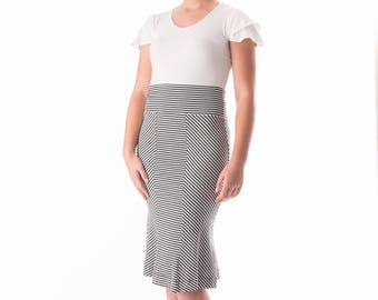 The Marilyn three panel striped tulip skirt in bamboo and organic cotton stretch jersey