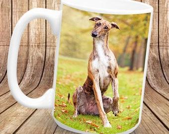 Lévrier - un des animaux plus rapides sur terre. tasse en céramique 1 x 11oz, imprimé des deux côtés.