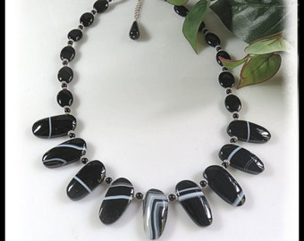 Black Banded Agate Necklace, Root Chakra, Calming Gemstones, Black and White Jewelry
