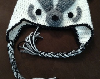Crochet Badger Hat (Adult sized) - Made to Order
