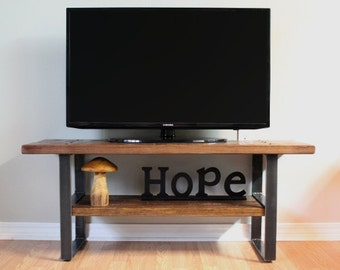 Reclaimed Wood Entertainment Center, Rustic TV Stand, Primitive, Modern TV Console, Mid Century, Industrial, Wood, Metal, Storage, Farmhouse