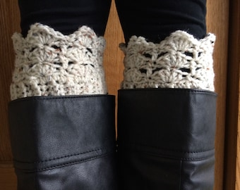 Women's Boot Cuffs - Oatmeal Colored Boot Cuffs - Lacy Stitch Crochet Boot Cuffs - Leg Warmers - Boot Toppers - Faux Leg Warmers