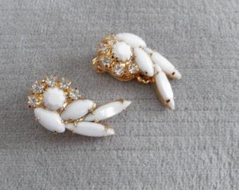 Vintage White Milk Glass Rhinestone Earrings