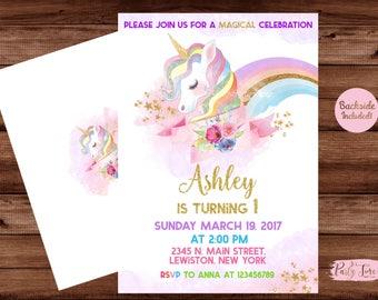 Unicorn Invitation -Rainbow Unicorn Invitation - Unicorn Invite - Unicorn Party Invitation- Unicorn Birthday Invitation. DIGITAL FILE