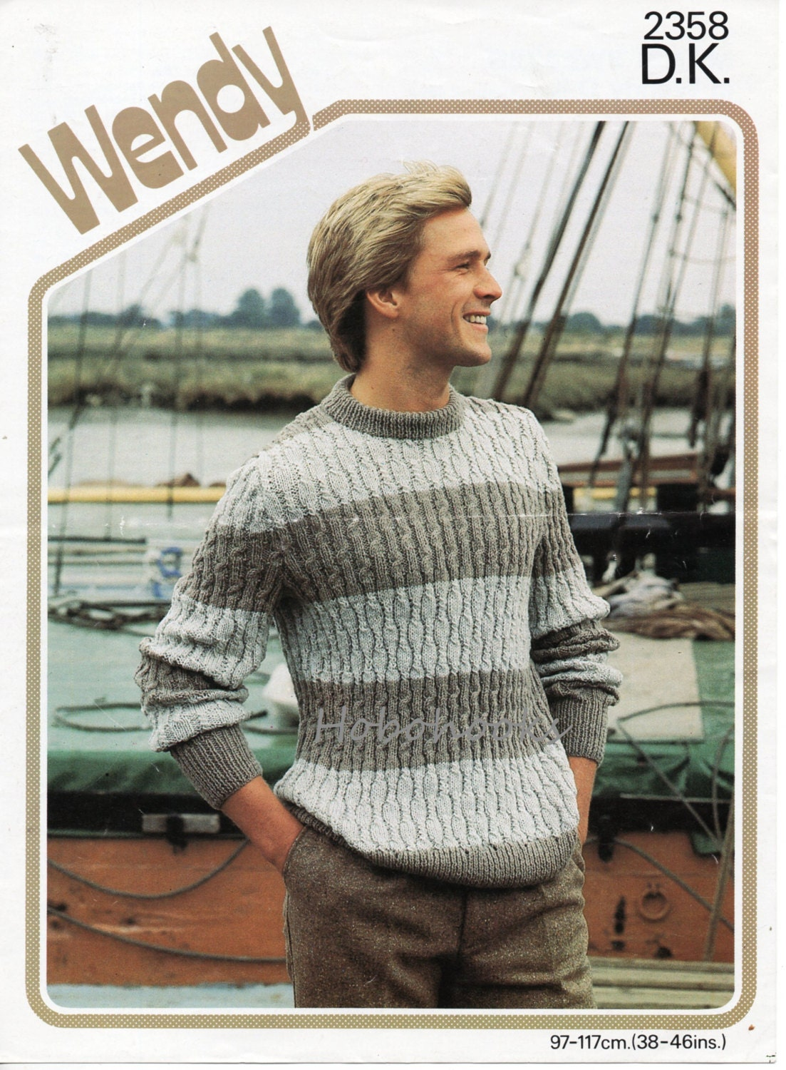 mens striped sweater knitting pattern crew neck 38-46 inch DK