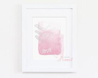 Love Art Print, Nursery Wall Art, Love Nursery Art Print, Watercolor Art Print - Nursery Decor, Home Art - Pink Nursery, Baby Girl Art