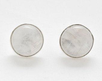 Sterling Silver Rainbow Moonstone Stud Earrings - Stud Earrings - Moonstone Jewellery - Handmade Jewellery