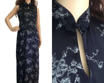 90s Asian Satin Cheongsam Dress