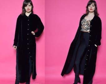 90's Vintage Black Velvet Maxi Shirt / Black Velvet Button Dress / Black Velvet Long Top