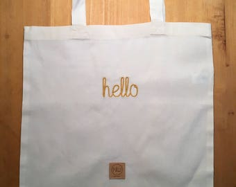 Personalized Tote Bag - cotton bag - shopper - yellow