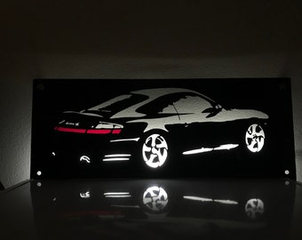Porsche 996 C4S Backlit Metal Wall Sign 911