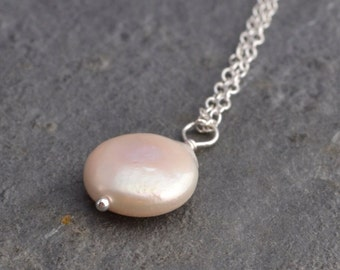 Coin pearl pendant necklace, free shipping