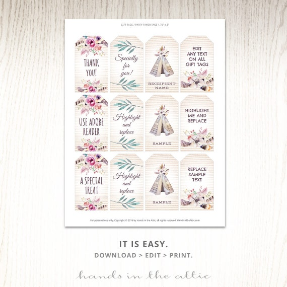 Editable Boho Tags Gifts Favors Printable Template Labels Customized Bohemian Teepee Floral Watercolor DIGITAL PDF