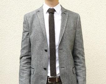 Knitted Mens Skinny Neck Tie in Coffee Bean Brown Lambswool - Groomsmen attire