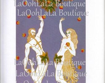 1982 Erté Adam & Eve Digital Printable Biblical Religious Art Christian Bible Garden of Eden Serpent Forbidden Fruit Tree Card Image Graphic