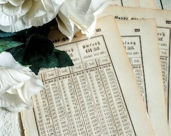 Five 1800's Numeric Table Book Pages, German