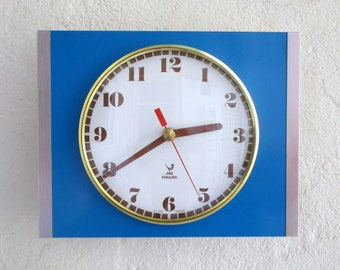 French 1950-60s Atomic Age JAZ Bright PEACOCK BLUE Formica Wall Clock - Transitor Clock - Excellent Working Condition
